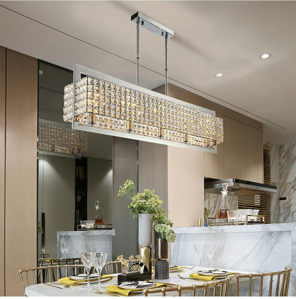 Modern Luxury Clear Crystal Rectangle Chrome Chandelier Lighting Led L