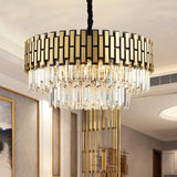 Modern Luxury Round Rectangle Crystal Chandelier Lighting For Dinning Room Living Room Indoor Light Fixtures Gold Chandeliers - Avenila - Interior Lighting, Design & More