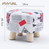 Modern Luxury Upholstered Footstool Nordic Round Pouffe Stool Wooden Leg Pattern Round Fabric 4 Legs - Avenila - Interior Lighting, Design & More