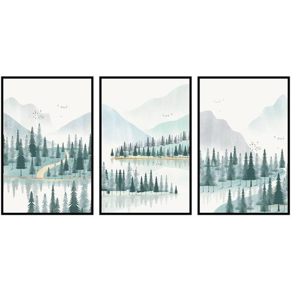 Modern Minimalist Forest And River Poster Landscape Painting Print Canvas - Avenila - Interior Lighting, Design & More