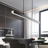 "Modern Wood 31 1/2"" to 59"" Aluminum Polished Pendant Chandelier - Avenila - Interior Lighting, Design & More"