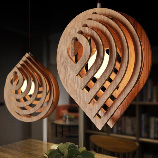 Modern Wood Pendant Light E27 Nordic Wooden Water Drop Pendant Lamp Loft Pendant Lights Dining Room Home Lighting Decor - Avenila - Interior Lighting, Design & More