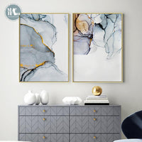 Nordic Morden Abstract Blue-gray line Wall Art Canvas Painting Golden Blue smoke Art Poster Print Wall Picture for Living Room - Avenila - Interior Lighting, Design & More