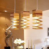 "Oak Wood 10 1/2"" Wide Square Falling Wooden Pendant Lamp - Avenila - Interior Lighting, Design & More"