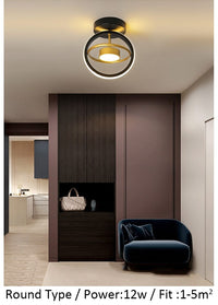 Orbital Modern Luxury Ceiling Hallway Corridor Black White and Gold Light - Avenila - Interior Lighting, Design & More