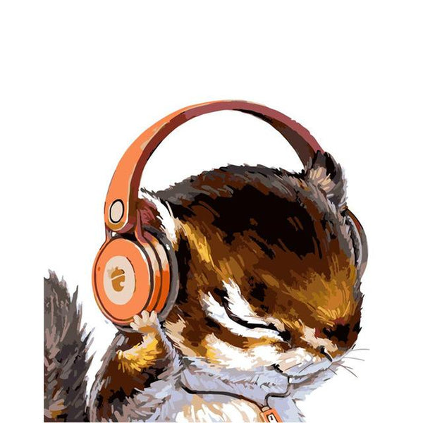 Possum with Headphones | Modern Wall Art Canvas Painting Unique Gift Home Decor 40x50cm - Avenila - Interior Lighting, Design & More