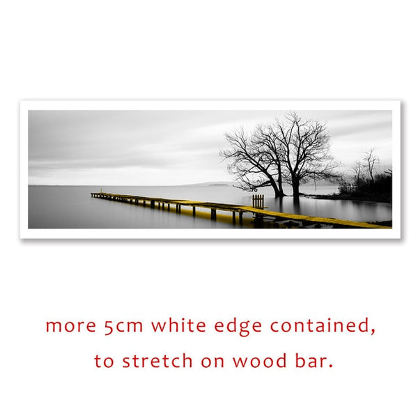Calm Lake Surface Yellow Long Bridge Scene Black White Canvas Paintings Poster Prints Wall Art Pictures Living Room Home Decor