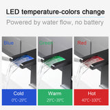 LED Waterfall Bathroom Basin Faucet, Single Handle Cold Hot Water Mixer Sink Tap RGB Color Change Powered by Water Flow