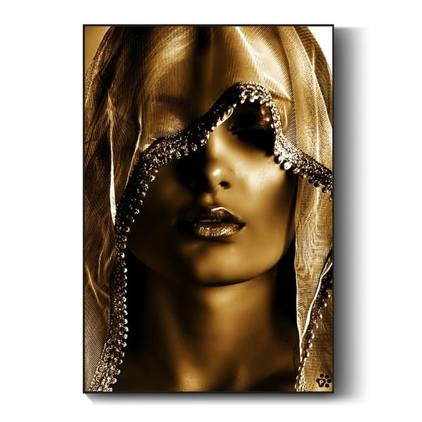 African Art Poster - Gold Woman with Covering Painting