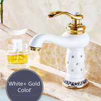 Basin Brass with Diamond & Gold Bathroom Faucet
