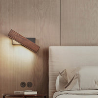 Modern Nordic Solid Wood LED Rotating Bedroom Wall Lamp