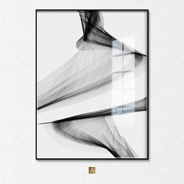 Abstract Black White Wall Art Posters Unframed