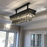 Rectangle Crystal Midnight Black Luxury Distinctive Lighting Modern Hanging Chandelier - Avenila - Interior Lighting, Design & More