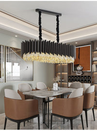 Rectangle Kitchen Island Black Crystal Chandelier - Avenila - Interior Lighting, Design & More