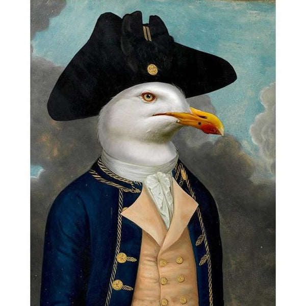 Revolutionary Seagul Captain Soldier | Wall Art Posters And Prints Animal Wearing a Hat Canvas Painting - Avenila - Interior Lighting, Design & More