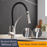Rubber Chrome LED Pullable Kitchen Faucet - Avenila - Interior Lighting, Design & More