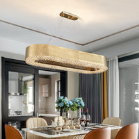 Semi-flush Modern Oval Gold Crystal Kitchen Chandelier - Avenila - Interior Lighting, Design & More