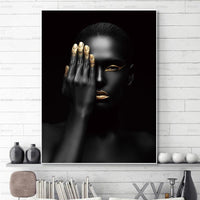 Senses African Abstract Gold & Black Canvas Unframed Poster - Avenila - Interior Lighting, Design & More