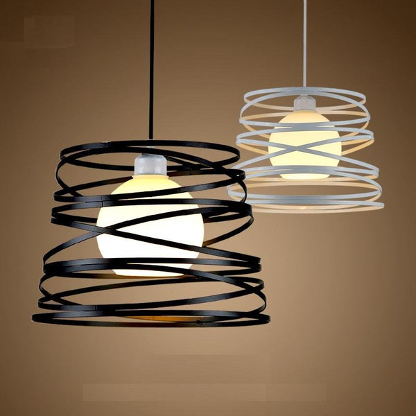 Simple Iron Spiral Pendant Lamp Light Shade 32cm Black / White - Avenila - Interior Lighting, Design & More