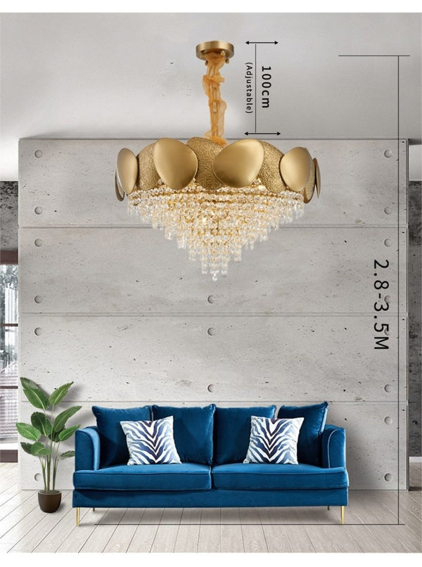 Sofrey Luxury Polished Steel Gold LED Chandelier - Avenila - Interior Lighting, Design & More