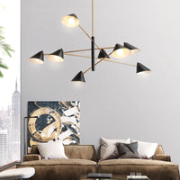Sofrey Postmodern Branching Lamp Chandelier For Living Room Black and Gold Lustre Bedroom - Avenila - Interior Lighting, Design & More