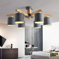 Solid Wood LED Ceiling Chandelier Light E27 With Iron Lampshade - Avenila - Interior Lighting, Design & More