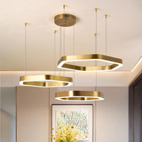 Starry Night Hexagonal LED Gold Ring Chandelier - Avenila - Interior Lighting, Design & More