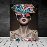 Trippy Abstract Flower Girl With Sunglasses Reflection Poster - Avenila - Interior Lighting, Design & More