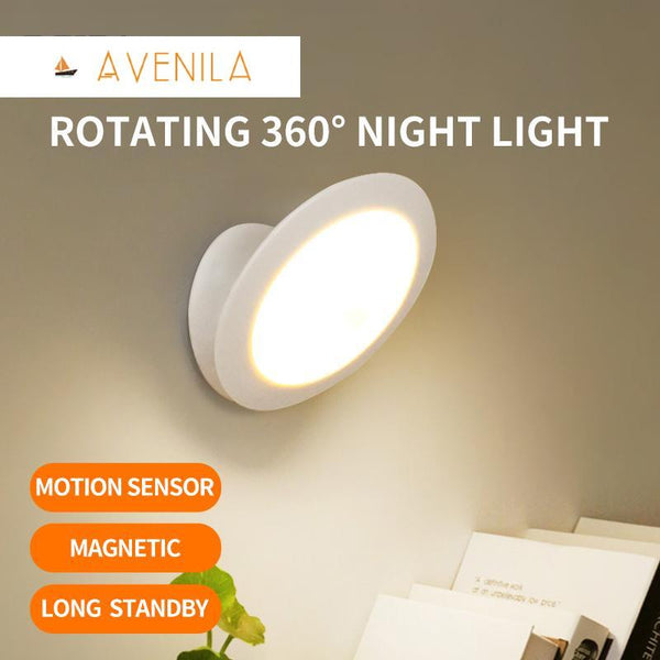UFO Motion Sensor LED Night Light Rechargeable 360 Degree Rotating Security Wall lamp for Bedroom Stair Cabinet Toilet - Avenila - Interior Lighting, Design & More