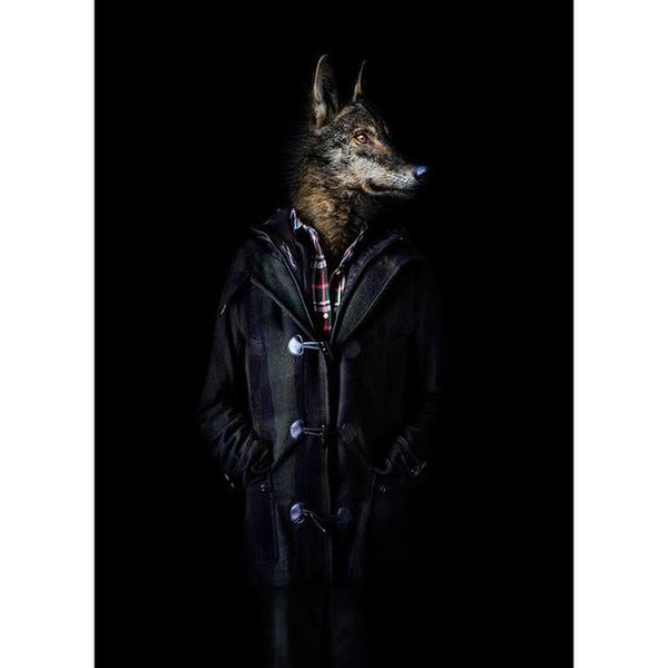 Wolf in Modern Trench Coat Poster | Wall Art Posters And Prints Canvas Painting - Avenila - Interior Lighting, Design & More