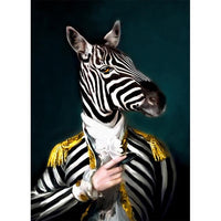 Zebra Revolutionary Soldier Poster | Wall Art Posters And Prints Animal Wearing a Hat Canvas Painting - Avenila - Interior Lighting, Design & More