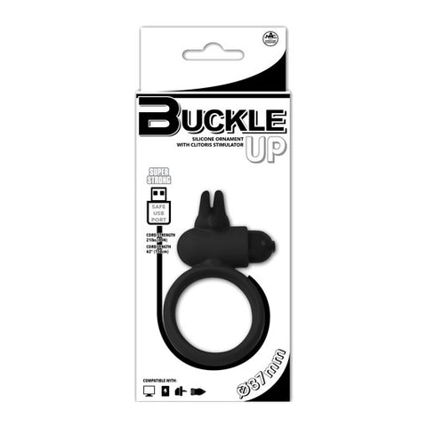 Buckle Up Buckle Up - USB Silicone Rabbit Cockring (Black) Sex Toy