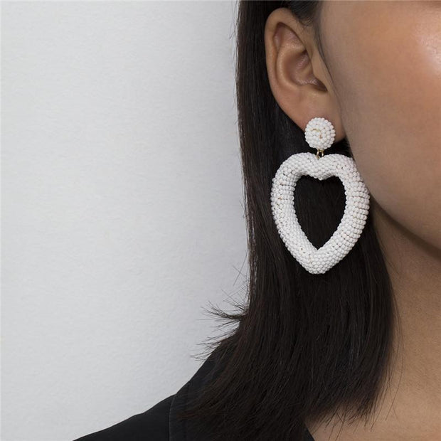 Simple creative heart-shaped cold wind rice beads earrings