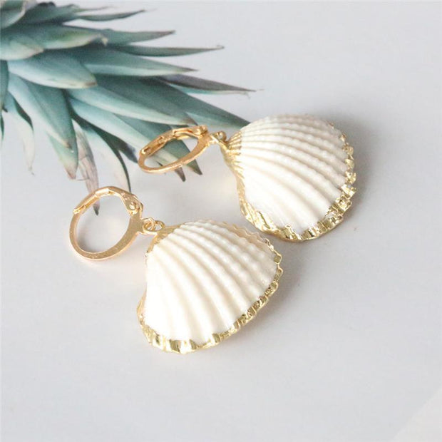 Women's Bohemian Shell Bag Pearl Earrings