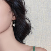 Simple and stylish star crescent shaped asymmetrical earrings