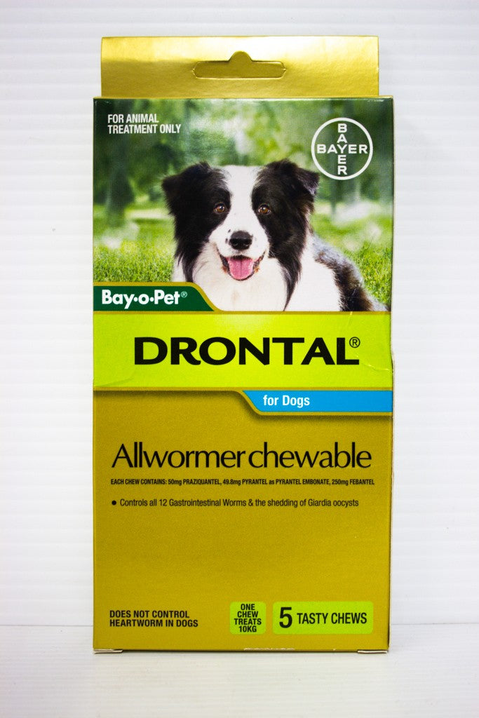 DRONTAL ALL WORMER CHEWABLE MED DOG 5