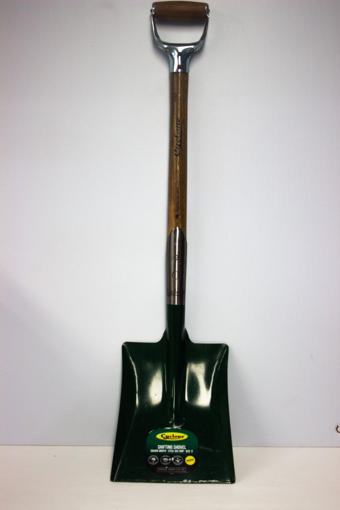 SQUARE MOUTH SHOVEL (SHORT TIMBER D HANDLE)