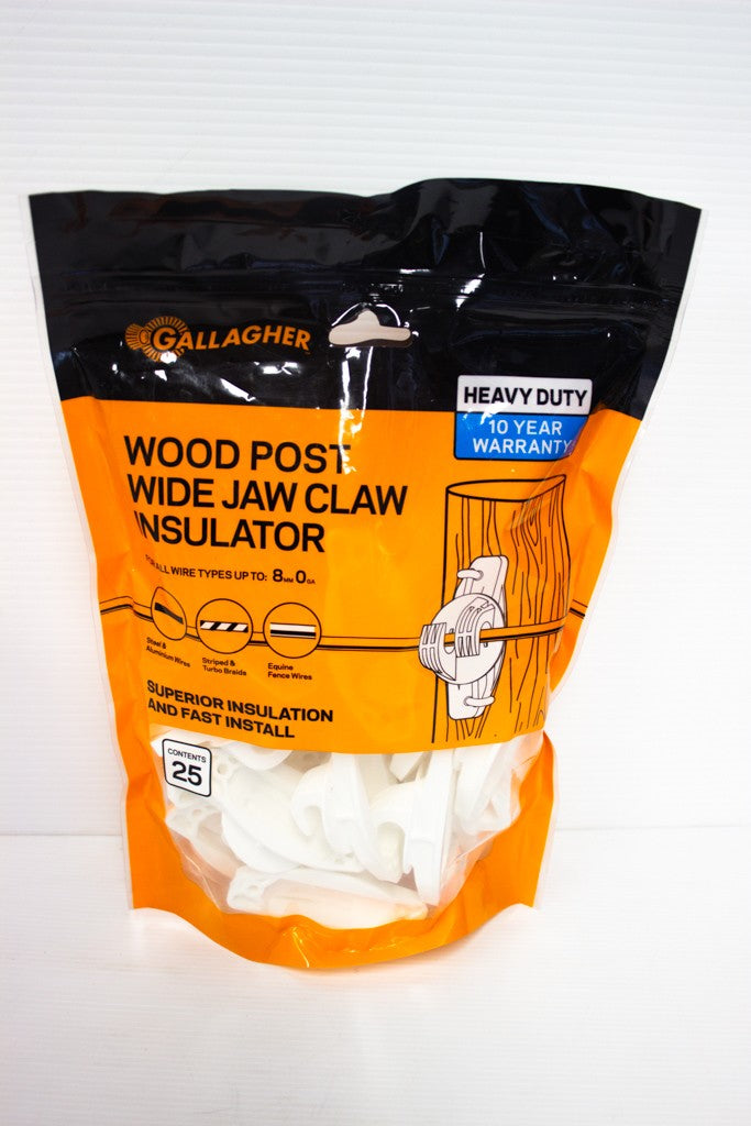 GALLAGHER WOOD POST TYPE 'W' CLAW INSULATOR (25 PACK)