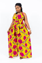 "Load image into Gallery viewer, Shop African Print ""JOLIE"" Wide Legs Jumpsuits from EllaFashionMall.com Made with a quality print that will stay new even after numerous wash. ✅ 100% Cotton and African prints  african print wide leg jumpsuit"