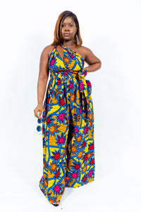 "Shop African Print ""JOLIE"" Wide Legs Jumpsuits from EllaFashionMall.com Made with a quality print that will stay new even after numerous wash. ✅ 100% Cotton and African prints  african print wide leg jumpsuit"
