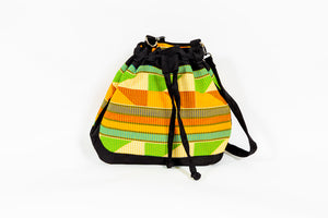 "African Print ""FAFA"" Drawstring Closure Shoulder Bag - Kente"