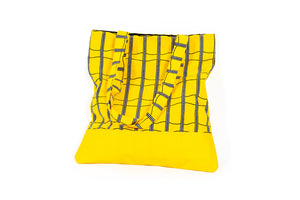"African Print/Leather ""TINA"" Tote - Yellow"