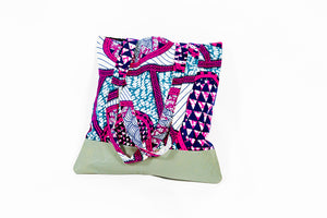 "African Print/Leather Bottom ""TINA"" Tote - Pink/Gray"