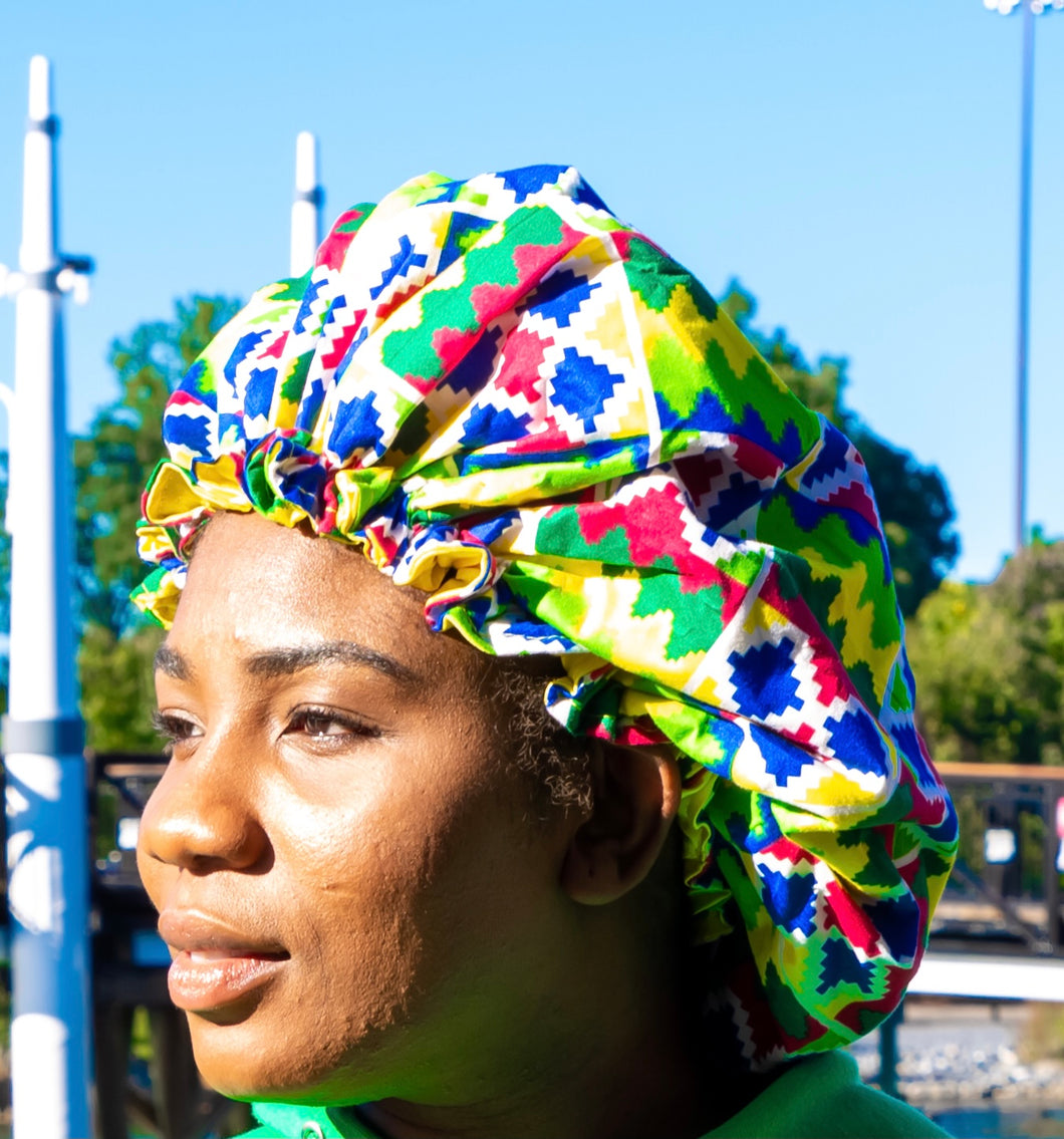 Kente Print Bonnet - Bright