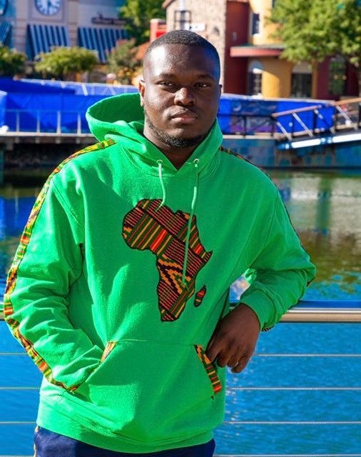 Shop African Map Hoodies green from EllaFashionMall.com. Touch of African prints to make you feel stylish and trendy. ✅ 100% Cotton and African prints  african map hoodies Green Africa Map Hoodies