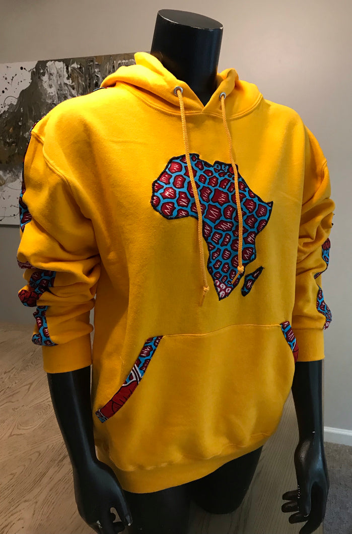 Shop African Map Hoodies Yellow from EllaFashionMall.com. Touch of African prints to make you feel stylish and trendy. ✅ 100% Cotton and African prints  african map hoodies yellow Africa Map Hoodies