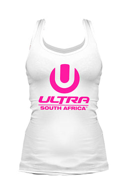 White Ladies Vest with Neon Pink ULTRA Logo
