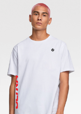White Male T-Shirt with Red and Black ULTRA Details