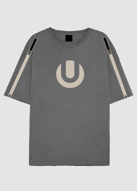 Grey Male Extra-Length T-Shirt with Beige ULTRA Logo and Details