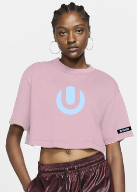 Pink Ladies Crop Top with White ULTRA SA Logo and Details